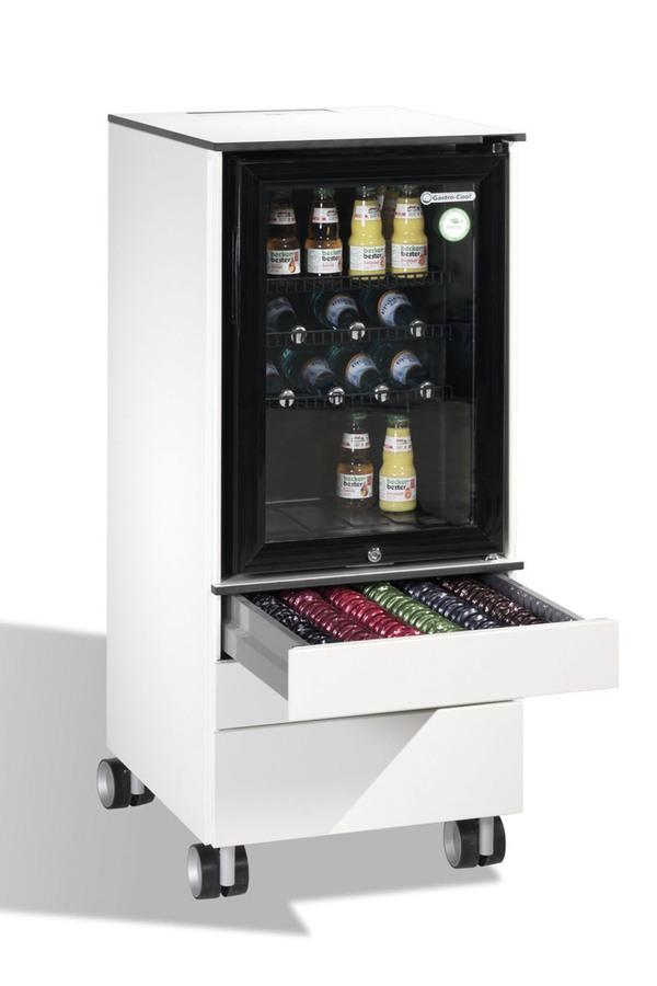 Minibar-Kühlschrank - weiß - 1 Schublade mit 2 Sammelbehälter ...