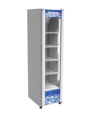 schmaler Getränkekühlschrank mit Glastür in weiß