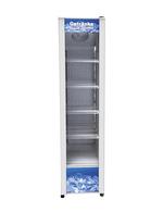 Weißer schmaler Glastürkühlschrank