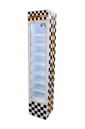 GCDC110WWW - Werbe-Displaykühlschrank - weiß im Renn-Zielflaggen-Design