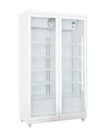 Großer weißer Glastürkühlschrank