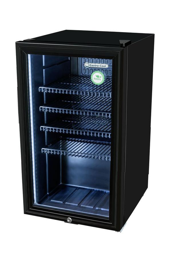 Flaschenkühlschrank mit Glastüre - schwarz - GCKW90 – Gastro-Cool ...