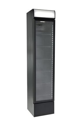 Schmaler Werbedisplaykühlschrank in schwarz