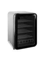 Schwarzer Glastürkühlschrank im Retro Design