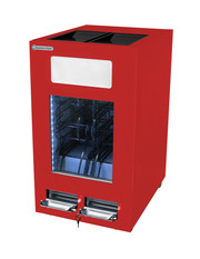 Roter Dosenkühlschrank mit Dispenser abschließbar
