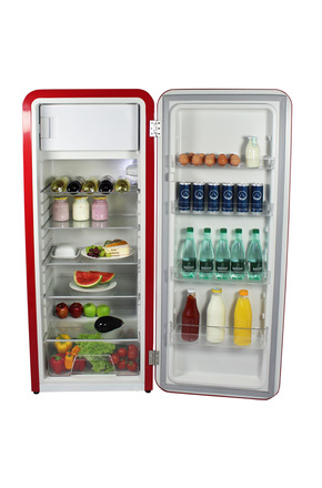 Retro Kühlschrank Havanna in Rot - VIRC330 – Gastro-Cool – Günstig ...