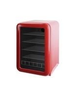 Roter Retro-Kühlschrank mit Glastür