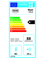 Energielabel des silberfarbenden Retro-Kühlschranks im Miniformat