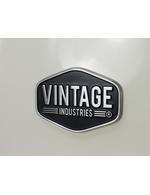 Label des Vintage Industries Retro Kühlschranks Miami