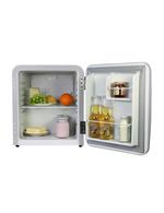 Detailbild gefüllter Retro-Kühlschrank Miami in silber