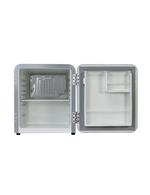 Detailbild Innenansicht des silbernen  Mini Retro-Kühlschranks Miami