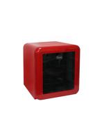 Roter Glastürkühlschrank im Retro-Design