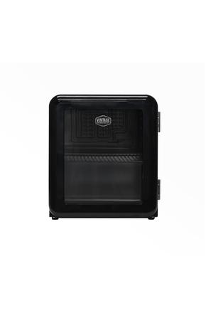 Schwarzer Mini Retro-Kühlschrank mit Glastür -