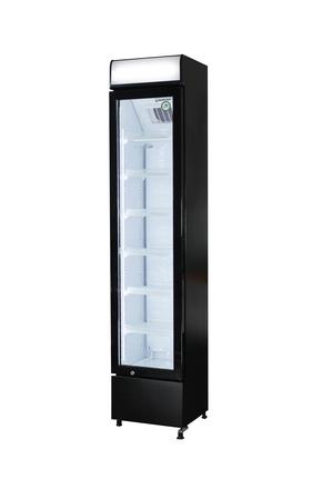 Flaschenkühlschrank mit Werbedisplay - extra schmal