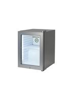 Silberner Minikühlschrank mit Glastür und LED Beleuchtung