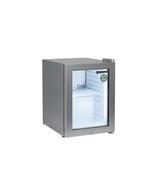 Kleiner silberner Getränkekühlschrank mit Glastür