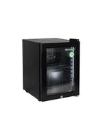 Kleiner Glastürkühlschrank mitr LED Beleuchtung mit schwarzem Gehäuse und Innenraum