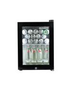 Kleiner Getränkekühlschrank in schwarz mit Glastür und LED Innenbeleuchtung