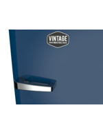 Detailbild Griff vom europablauen Retro-Kühlschrank