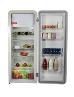 Beispielbild Innenraum des tieforangenen Retro Kühlschranks