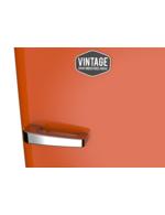 Vintage Industries Detailbild Griff vom tieforangenen Retro-Kühlschrank