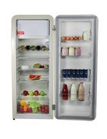Beispielbild Innenraum des schwefelgelben Retro Kühlschranks