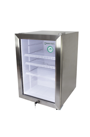 Edelstahl Mini-Kühlschrank mit Glastür - LED Innenbeleuchtung - GCKW65